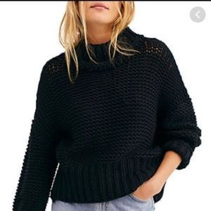 Free People My Only Sunshine Black Sweater